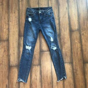 Francesca's Harper Distressed Raw Hem Skinny Jeans